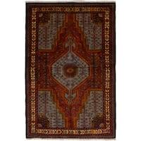 eCarpetGallery  Hand-knotted Touserkan Dark Copper, Light Blue  Wool Rug (3'6 x 5'3)