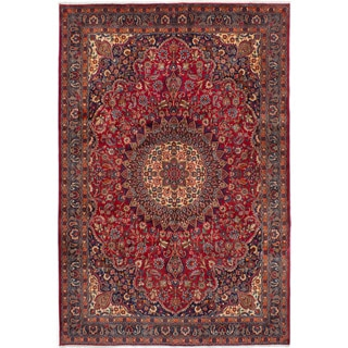 Hand-knotted Mashad Red Wool Rug - 6'5 x 9'10