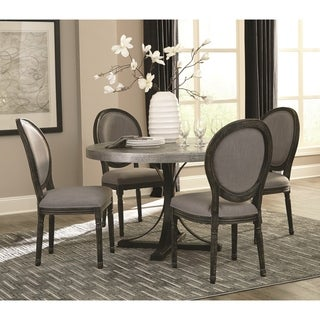 Vintage Bohemian Style 5-piece Dining Set with Hard-Hammered Table Top
