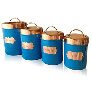 Copper Kitchen Food Canister Set of 4 by Kauri Design
