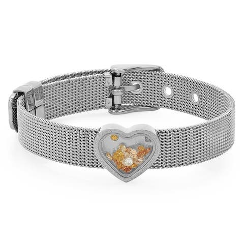 Piatella Ladies Stainless Steel Heart Watch Bracelet Adorned with Swarovski Crystals in 2 Colors