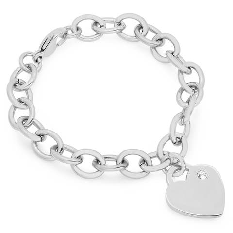 Piatella Ladies Stainless Steel Rolo Heart Bracelet Adorned with Swarovski Crystals in 2 Colors