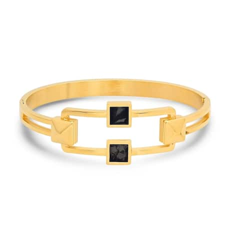 Piatella Ladies Gold Tone Studded Hinge Bangle with Black Mother of Pearl in 2 Colors