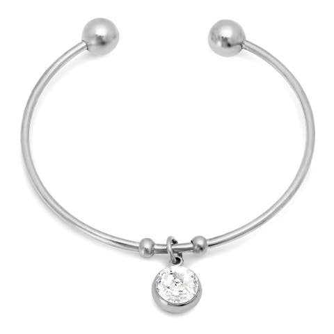 Piatella Ladies Stainless Steel Crystal Bangle Cuff with Swarovski Crystals in 3 Colors