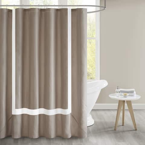 510 Design Hanson Pieced Border Shower Curtain with Liner 3 Color Option