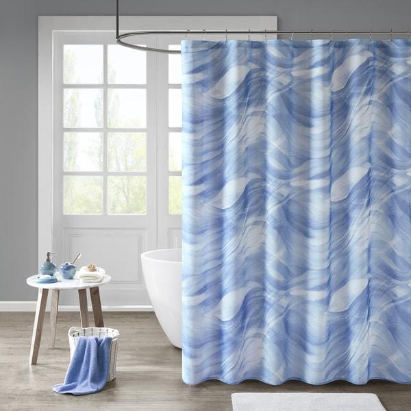 Shop madison park azure blue printed sheer shower curtain - Madison park bathroom accessories ...