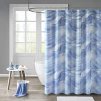 Madison Park Azure Blue Printed Sheer Shower Curtain