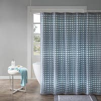Madison Park Essentials Faux Silk Laser Cut Circle Contrast Shower Curtain 2 Color Option
