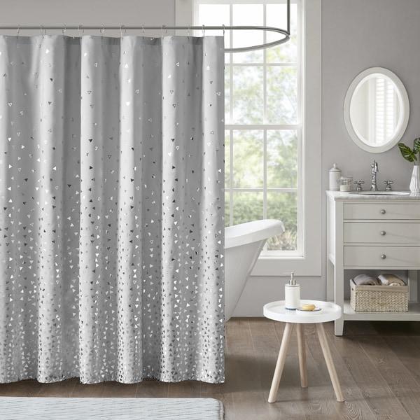Intelligent Design Liv Grey Silver Printed Shower Curtain