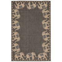 "Liora Manne Terrace Marching Elephants Indoor/Outdoor Rug Slate 7'10""X9'10"""