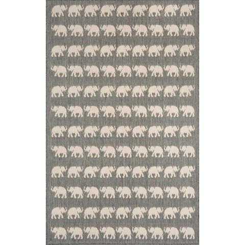 Marching Elephants Outdoor Rug (7'10 x 9'10) - 7'10 x 9'10