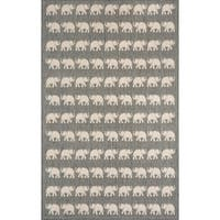 Marching Elephants Silver Outdoor Area Rug - 7'10 x 9'10