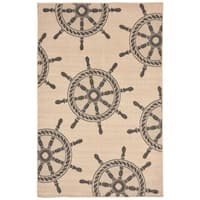 Nautical Wheel Outdoor Rug (4'10 x 7'6) - 4'10 x 7'6