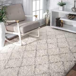 nuLOOM Soft and Plush Moroccan Trellis Natural Shag Rug (6'7'' x 9')