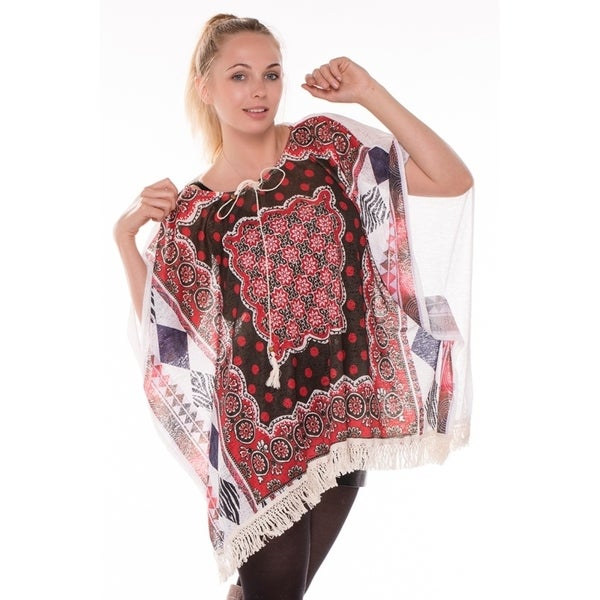 c968a343885 Shop BYOS Womens Summer Lightweight Boho Chic Aztec Poncho Festival Beach  Coverup W  Crochet Fringes - On Sale - Free Shipping On Orders Over  45 ...