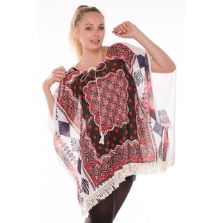 BYOS Womens Summer Lightweight Boho Chic Aztec Poncho Festival Beach Coverup W/ Crochet Fringes