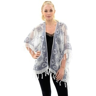 BYOS Womens Fashion Lightweight Floral Open Front Kimono Cardigan Beach Cover-up