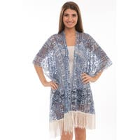 BYOS Womens Fashion Lightweight Printed Open Front Kimono Cardigan Beach Cover-up Various Patterns