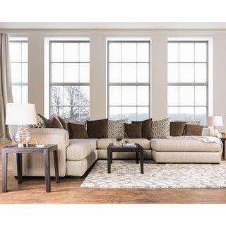 Furniture Of America Benino Contemporary Cream U Shaped Sectional Sofa