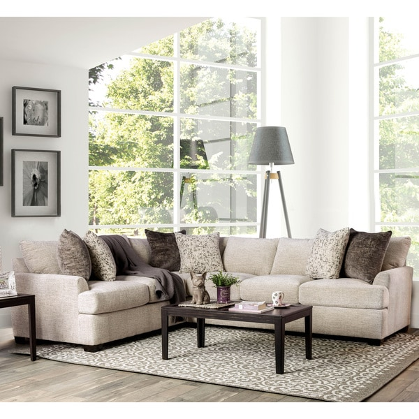 Furniture of America Larsson Contemporary Ivory Chenille Sectional Sofa