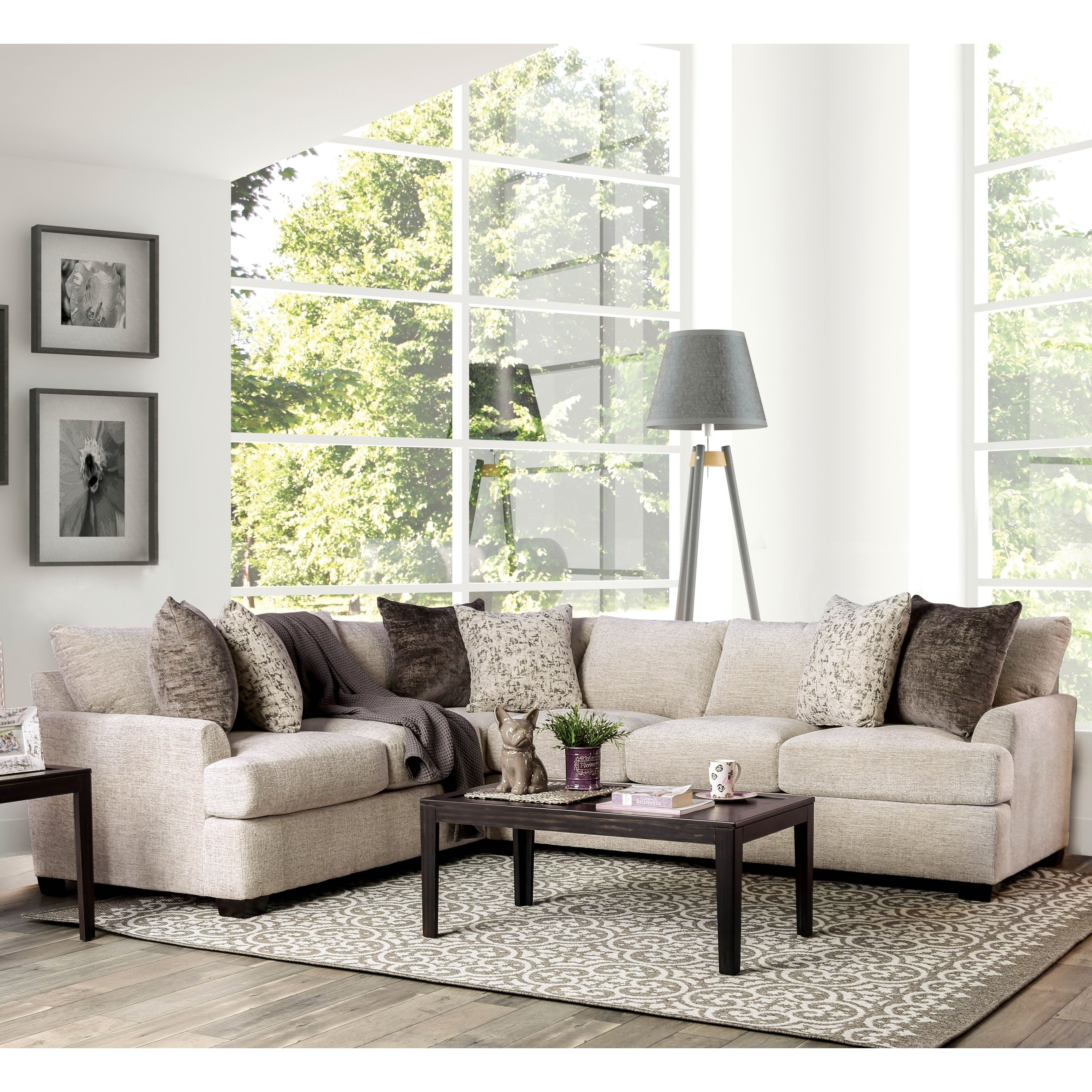 sports shoes 15e3f 00cb1 Larsson Contemporary Ivory 3-Piece Sectional Sofa by FOA