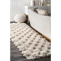 The Gray Barn Keene Soft and Plush Shag Diamond Raised Trellis Ivory Runner Rug - 2'5 x 9'6