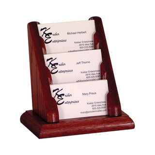 Wooden Mallet 3 Pocket Countertop Business Card Holder Mahogany