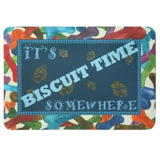 """Floor Gallery Biscuit Time Somewhere printed accent rug by Bacova - Blue/Tan - 1'2"""" x 1'9"""""""