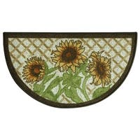 Classic Berber Sunflower Kitchen rug by Bacova - Grey/Yellow - 1'6 x 2'6