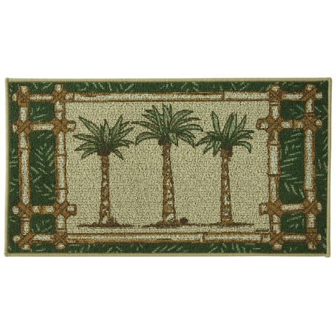 "Classic Berber Oasis Kitchen rug by Bacova - Beige/Green - 1'10"" x 3'4"""