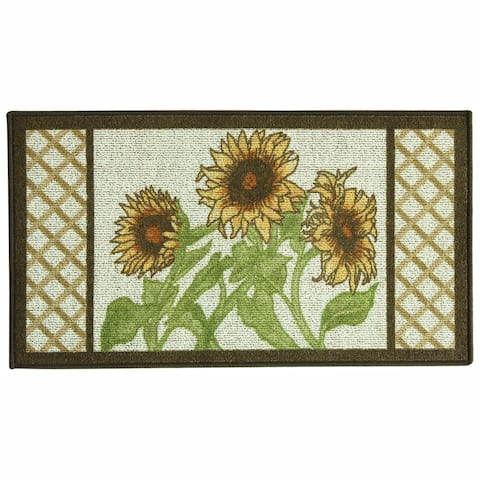 Classic Berber Sunflower Frame Kitchen Rug by Bacova
