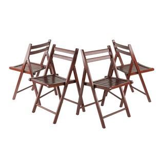 Winsome Robin 4-PC Folding Chair Set Walnut