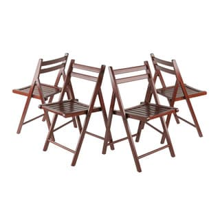 Winsome Robin 4 PC Folding Chair Set Walnut