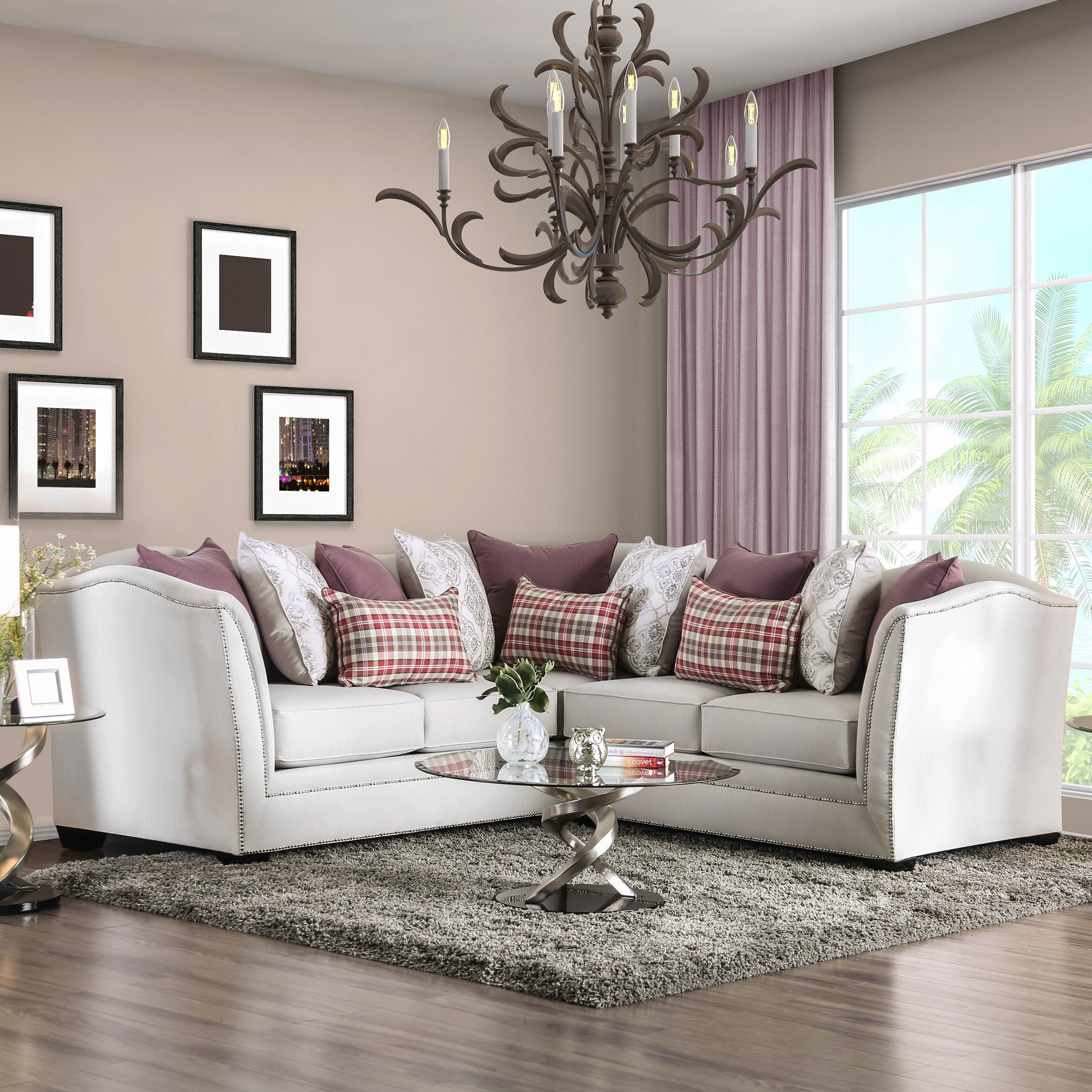 Furniture of America Selena Contemporary Glam Beige Chenille Fabric  Sectional Sofa