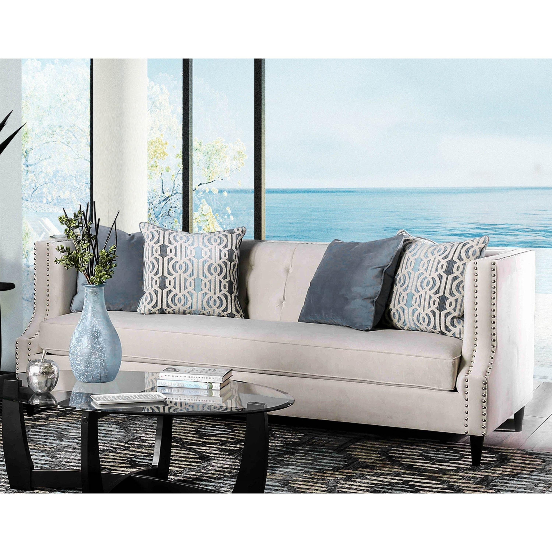 Furniture of America Garamond Contemporary Tuxedo Microfiber Tufted ...
