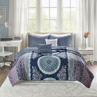 Intelligent Design Eleni Navy Reversible 5-piece Coverlet Set