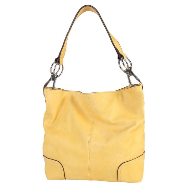 Shop Diophy Faux Leather Patch Corner Hobo Handbag - L - Free ... 9d3de67066