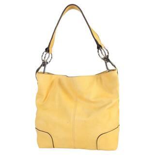 Diophy Faux Leather Patch Corner Hobo Handbag L