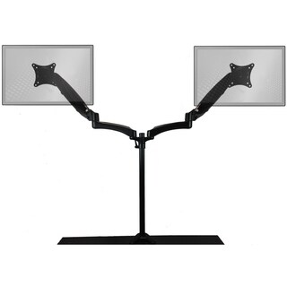 Sit-Stand Monitor Arm: Extended Dual Air-Assist Arms Black