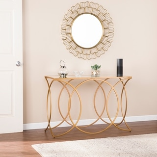 Milani Gold Geometric Console Table w/ Mirrored Top