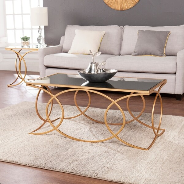 Harper Blvd Milani Gold Geometric Tail Table W Mirrored Top