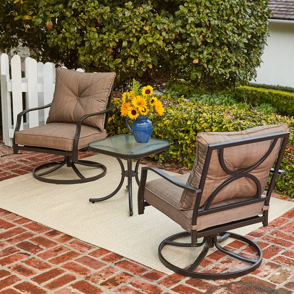 Hanover Palm Bay 3-Piece Swivel Chat Set