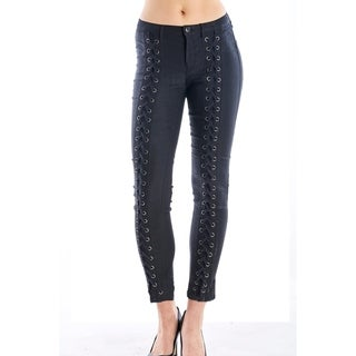 Ladies Ponte Skinny Legging Pants, Lace Up And Zip Up