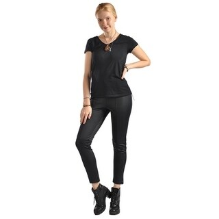 High Fashion Faux Leather Stretched Leggings Black