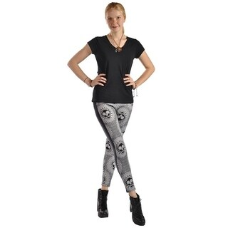High Fashion Print Faux Leather Side Panel Stretched Leggings Black