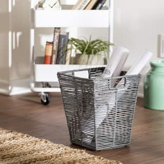 Honey Can Do Coastal Collection Decorative Trash Can, Cool Grey