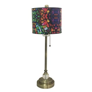 Royal Designs Antique Brass Lamp with Mosaic Stained Glass Design Lamp Shade