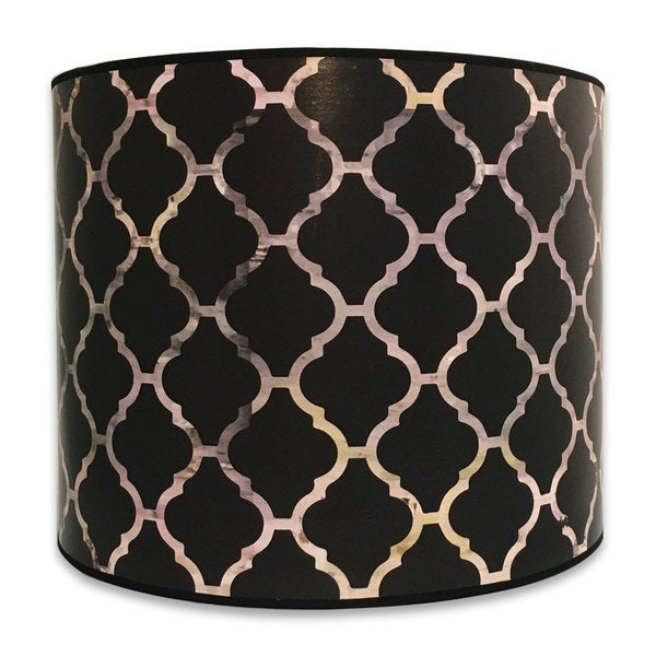 Royal Designs Modern Trendy Decorative Handmade Lamp Shade - Made in USA - Black Moroccan Tile Design -10 x 10 x 8