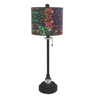 "Royal Designs 28"" Crystal and Oil Rub Bronze Buffet Lamp with Mosaic Stained Glass Design Hardback Lamp Shade"