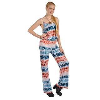 Womens High Waist Sleeveless Floral Pattern Jumpsuits Rompers Blue